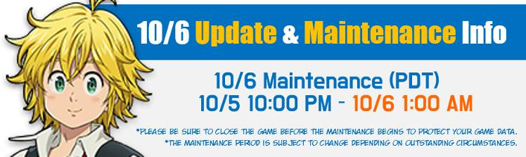 10/6 Update Preview and Maintenance Notice