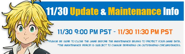 11/30 Update Preview and Maintenance Notice